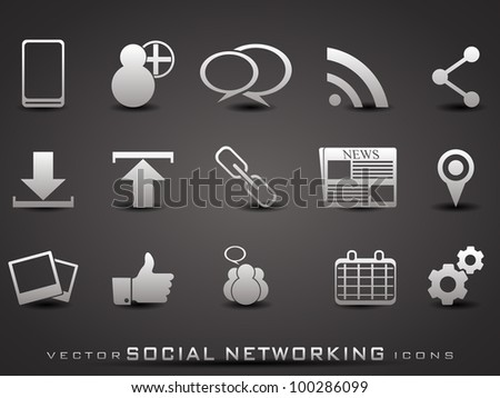 Set of web 2.0 icons for web applications, Internet & website icons and social networking icons  on grey background. EPS 10. Vector illustration.