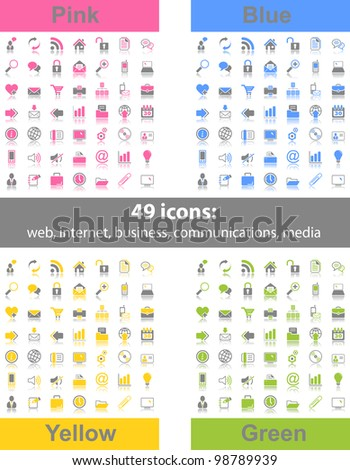 Set of 49 web icons in 4 different color variations