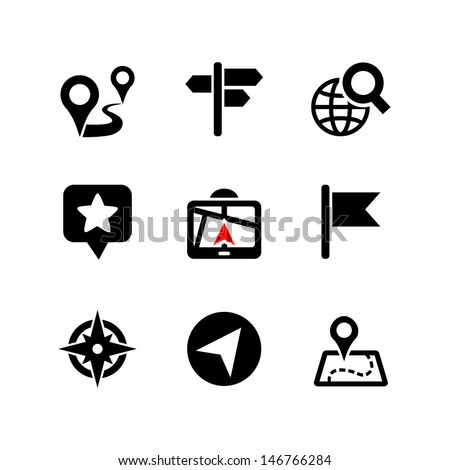 Set of 9 web icons. Location, navigation, map - stock vector