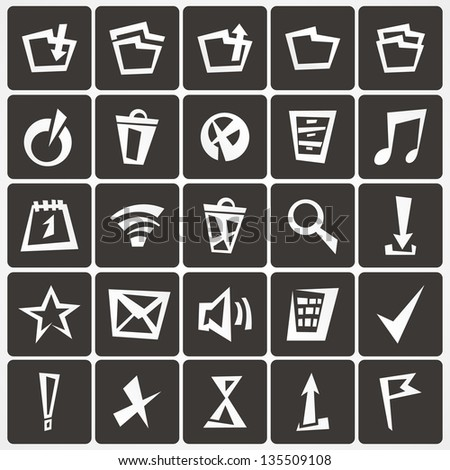set of web icons on a dark background - stock vector