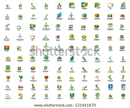 Set of 100 web internet concepts logo icons, business corporate emblems