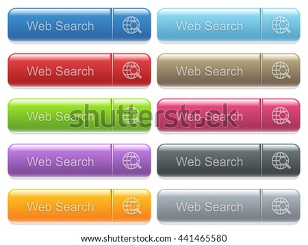 Set of web search glossy color captioned menu buttons with embossed icons - stock vector