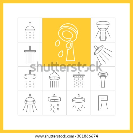 Set of web simple thin line shower icons. Showerheads, douche, vector illustration - stock vector