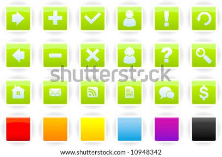 Set of web site navigation buttons - stock vector