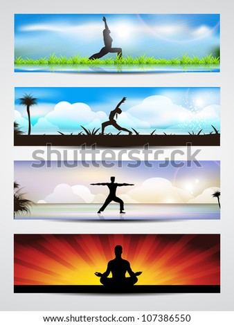 Set of website banners of yoga or meditation. EPS 10 - stock vector