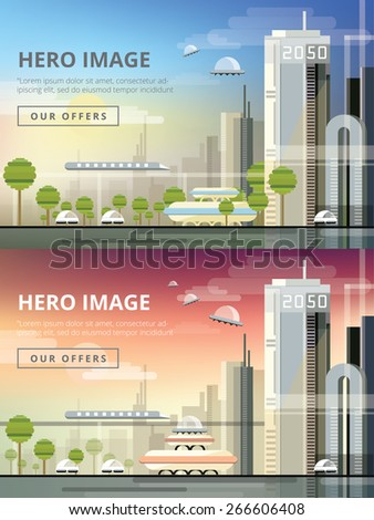 set of website hero images in flat design style for web development purposes. Busy urban cityscape templates with modern buildings, roads, futuristic traffic and park trees. Day and night concepts. - stock vector