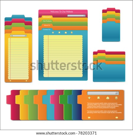 Set Of website template design. Notebooks With Colored Tabs And Lined Pages - personal for programmer and designer. - stock vector