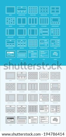 Set of website wireframes - stock vector