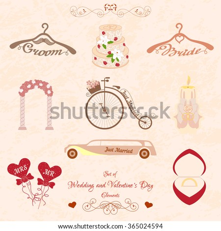 Set of Wedding and Valentines Day elements - stock vector