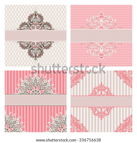 Set of wedding cards. invitation, thank you card, save the date card - stock vector