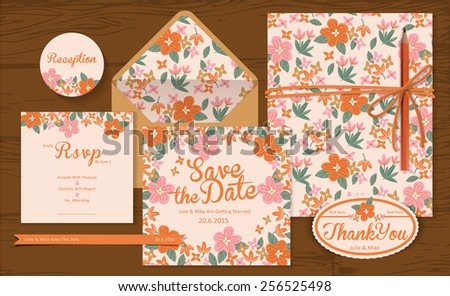 Set of wedding cards ( invitation, thank you, Save the date, RSVP, Just Married) - stock vector