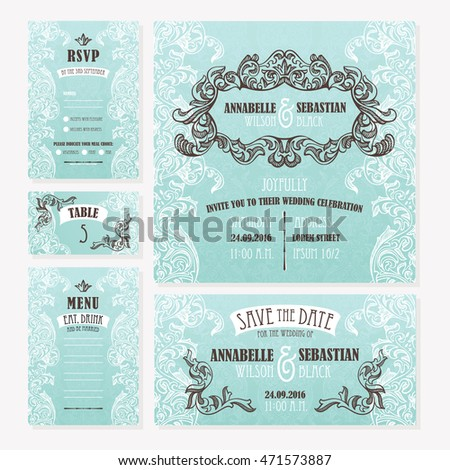 Set of wedding cards. Wedding invitation, Save the date card, Table card, RSVP card and Menu.