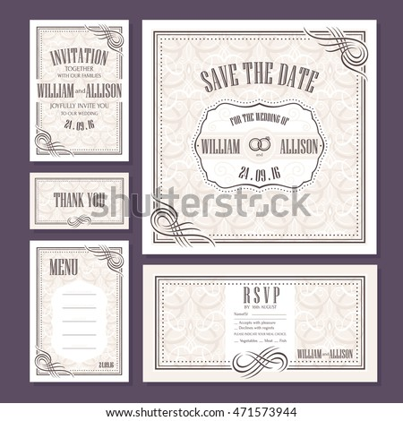Set of wedding cards. Wedding invitation, Thank you card, Save the date card, RSVP card and Menu.