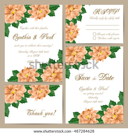 Set of wedding cards with delicate floral ornament. Vector illustration