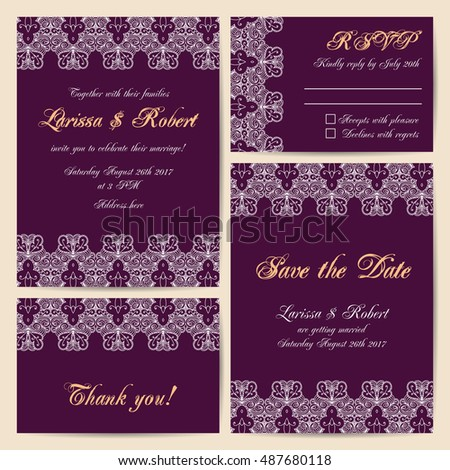 Set of wedding cards with delicate lace ornament. Vector illustration