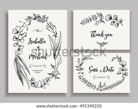 Set wedding cards leaves herbs flowers stock vector hd royalty free set of wedding cards with leaves herbs and flowers invitation save the date stopboris Images
