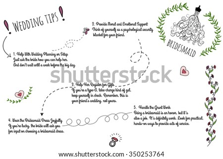 Set of wedding doodle infographics with hand-drawn elements. The Bridesmaid Packing List for the Wedding Day. - stock vector