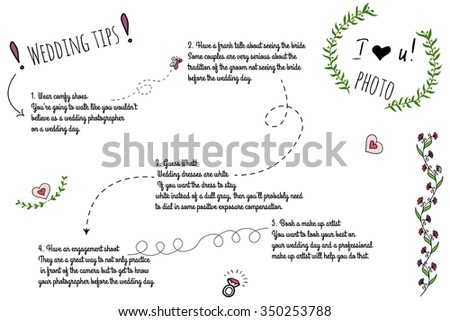 Set of wedding doodle infographics with hand-drawn elements. Wedding tips for perfect photo. - stock vector