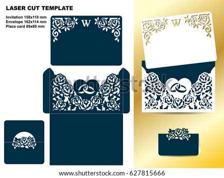 Set Wedding Floral Template Invitation Card Stock Vector Hd Royalty