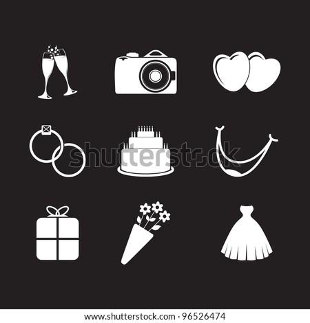set of wedding icons - stock vector