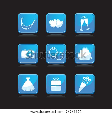 set of wedding icons - stock vector