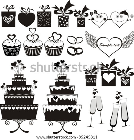 Set of wedding icons design elements isolated on White background. Vector illustration - stock vector