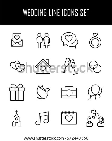 Wedding Ceremony Icons Mono Vector Symbols Stock Vector 217618579
