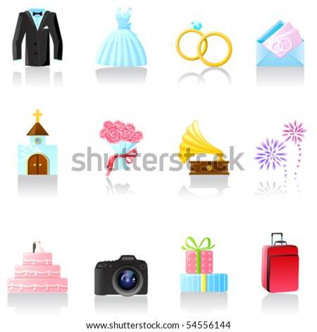 Set of  wedding icons. Part 1 - stock vector