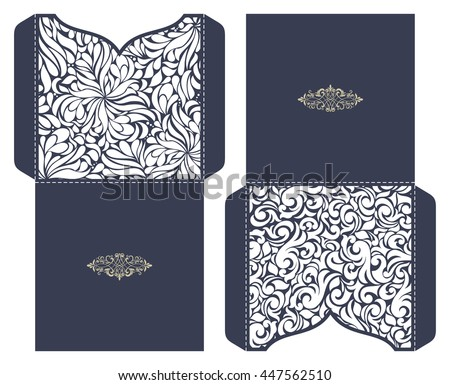 Set of 2 Wedding Invitation Baroque. Template for laser cutting. Open card. It can be used as an envelope for CD-ROM