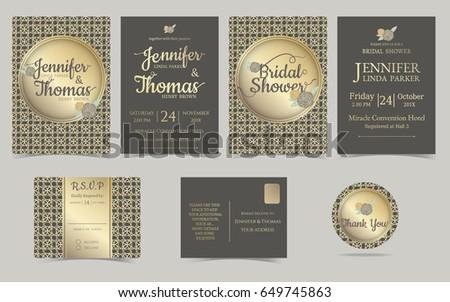 Set wedding invitation card muslim weddingbrown stock vector 2018 set of wedding invitation card for muslim weddingown and gold concept vector stopboris Choice Image