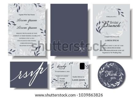 Set wedding invitation card minimalist leaf stock vector 1039863826 set of wedding invitation card with minimalist leaf bridle shower cardsponse card stopboris Images