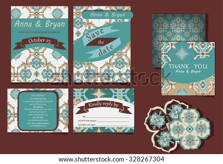 Set of wedding invitation cards - stock vector