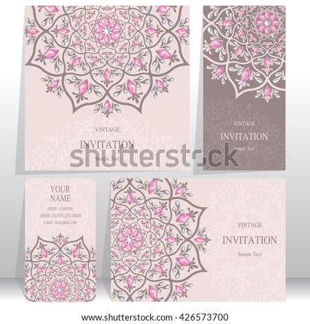 Set of Wedding invitation cards.business cards. or card with abstract background. Islam, Arabic, Indian, Dubai. - stock vector