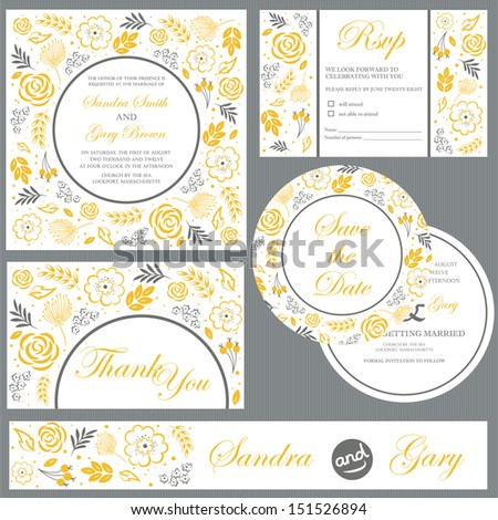 Set of wedding invitation cards (invitation, thank you card, RSVP card, save the date) - stock vector