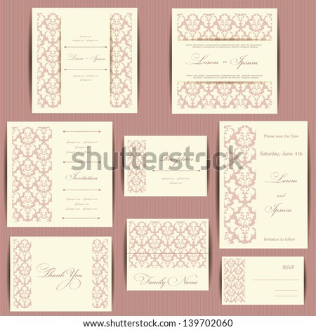 Set of wedding invitation cards or announcements with floral elements - stock vector