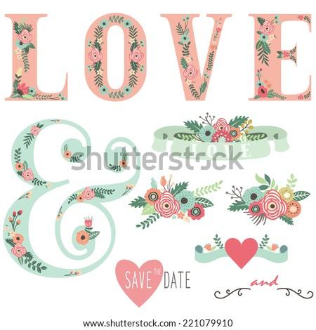 Set of Wedding Invitation Design Elements - stock vector