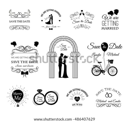 Set wedding invitation template vintage design stock vector hd set of wedding invitation template vintage design elements wedding set dress couple stopboris Image collections