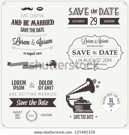 Set of wedding invitation vintage typographic design elements - stock vector