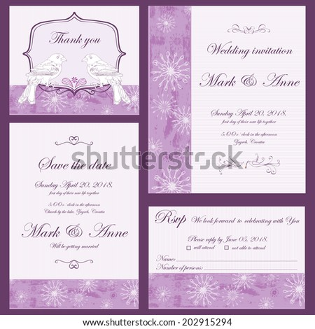 Set of wedding invitations and announcements