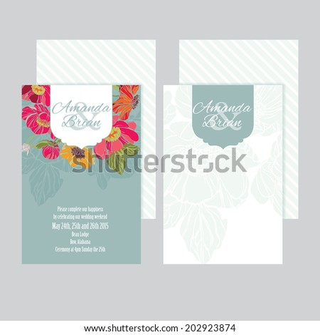 Set of wedding invitations card with floral background - stock vector