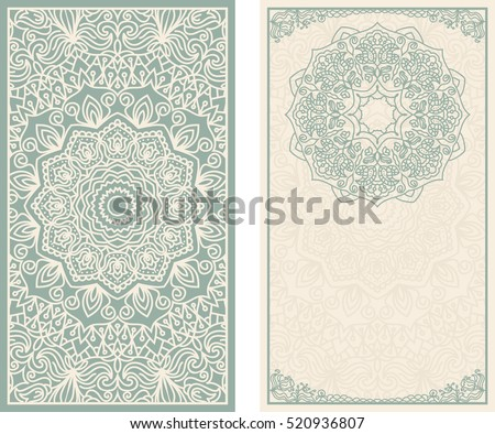Set of wedding invitations or greeting cards with floral mandala in green and beige. Business card. Vintage decorative elements.