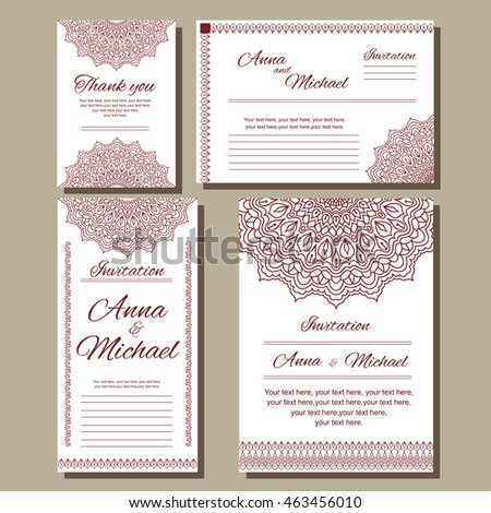 Set Of Wedding Invitations Postcards Different Sizes Under The European Standard Template For