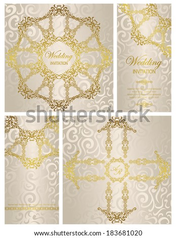 Set of wedding invitations. Seamless floral background in pastel colors      - stock vector