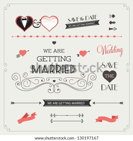 Wedding ribbons stock images royalty free images vectors set of wedding ornaments and decorative elements vintage banner ribbon labels frames junglespirit Image collections