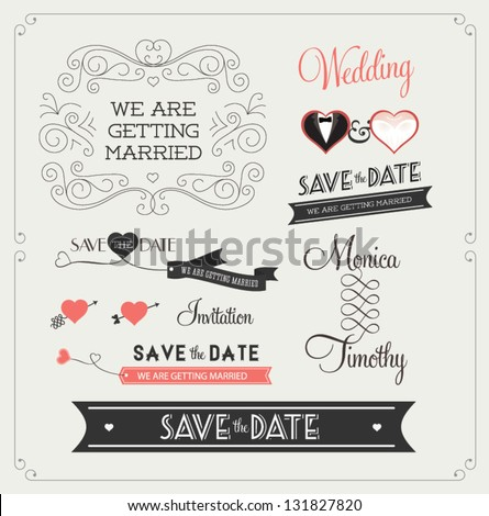 Set wedding ornaments decorative elements vintage stock vector set of wedding ornaments and decorative elements vintage banner ribbon labels frames junglespirit Images