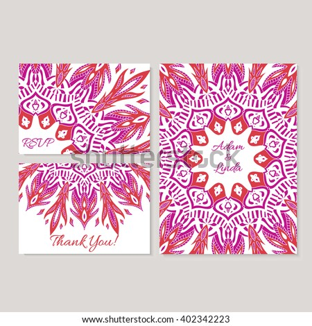 Set wedding save date invitation card stock vector 402342223 set of wedding save the date invitation card templates with lace ornament vector background accmission Gallery