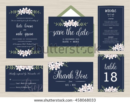 Set Of Wedding Suite Template Decorate With Flower In Navy Blue Color.  Includes Save The