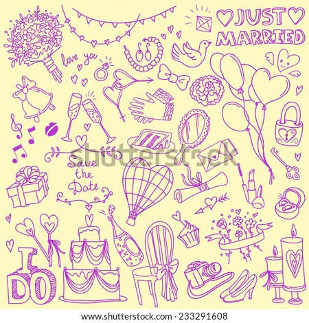 Set of wedding theme doodles, simple hand drawn sketch style vector illustrations isolated on background - stock vector