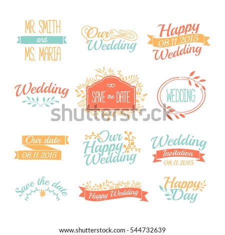 Set Wedding Vintage Retro Logos Sign Stock Vector 544732639