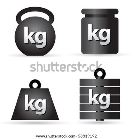 Set of weight kilogram barbell icons - stock vector